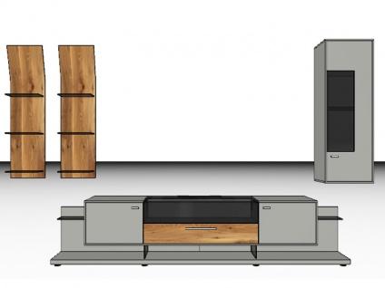 Gwinner Mediaconcept Kombination MC902 oder seitenverkehrt MC902-SV Wohnwand für Wohnzimmer Ausführung Korpus und Front in Lack weiß, taupe, fango oder schwarz seidenmatt mit Akzent in Furnier Ausführung wählbar