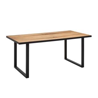 Elfo-Möbel Janne Esstisch mit furnierter Platte in Eiche mit graphitgrauen Metallkufen Größe wählbar