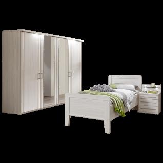 Wiemann Mainau Schlafzimmerset mit 4-türigem Drehtürenschrank Bett und Nachtschrank mit Paneel in Polar-Lärche-Nachbildung