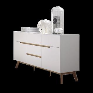 MCA furniture Cervo Kommode 48643WE5 weiß matt lackiert für Wohnzimmer mit 5 Schubkästen 1 Tür Absetzung Asteiche furniertes Massivholz