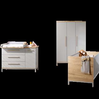 Paidi Benne Babyzimmer 4-teilig bestehend aus Kinderbett mit Airwell Comfort Lattenrost Kleiderschrank 3T Kommode breit mit Wickelaufsatz