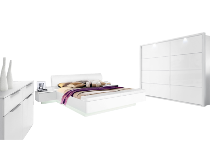FORTE Starlet Plus Schlafzimmer-Set 3-teilig mit Bettanlage Schwebetürenschrank und Kommode Korpus Dekor Weiß kombiniert mit Hochglanz Front Weiß Hochglanz