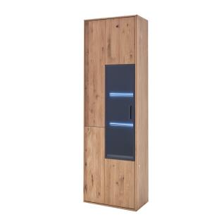 MCA Furniture Portland Vitrine POR17T10 für Ihr Wohnzimmer oder Esszimmer Standvitrine mit einer Glastür in Asteiche bianco teilmassiv mit Fronten aus Massivholz und mit Absetzungen in Anthrazit lackiert Beleuchtung wählbar