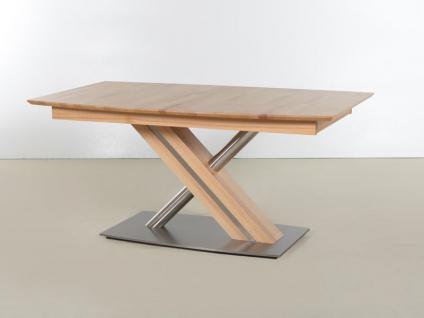 Standard furniture Säulentisch Arte S Gestell Säule C in X-Form Speisezimmertisch mit Tischplatte in Bootsform ausziehbar mit Synchronauszug Tisch für Esszimmer Holzausführung und Größe wählbar