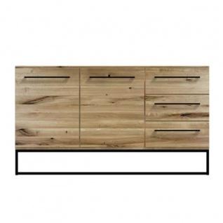 Niehoff Simply großes Sideboard 4604 Charaktereiche Massivholz gebürstet/ geölt Front und Korpus Massivholz Kommode mit Schubkästen und Türen für Wohnzimmer und Esszimmer