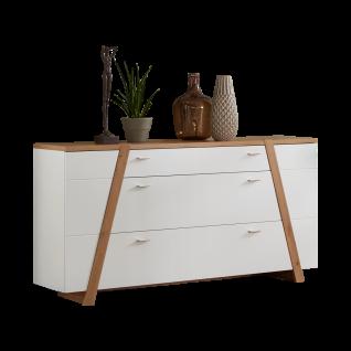 Ideal-Möbel Tessa Sideboard 51 mit sechs Schubkästen und zwei Türen in Eiche Artisan Melamin kombiniert mir Weiß