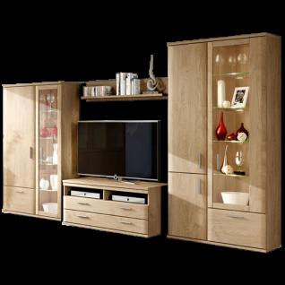 Stralsunder Wiek Wohnkombination EB207 sechsteilige Wohnwand mit Highboard TV-Unterteil Wandboard und Vitrine für Wohnzimmer Dekorausführung und Beleuchtung wählbar