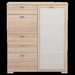 Forte Girona Kommode mit 4 Schubkästen und 1 Glastür Dekor wählbar für Schlafzimmer Wohnzimmer oder Esszimmer