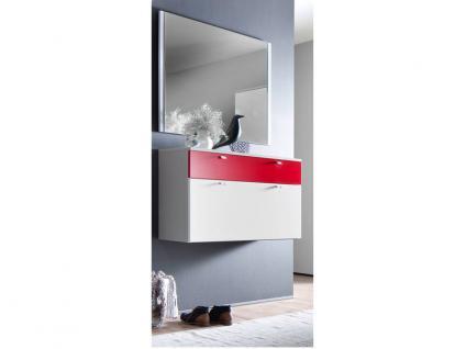 Wittenbreder Multi Color UNA Schuh Klappschrank Schuhschrank und Spiegel Garderobe Schrank Korpus Weiß matt Fronten Weiß und Rot matt Größe wählbar
