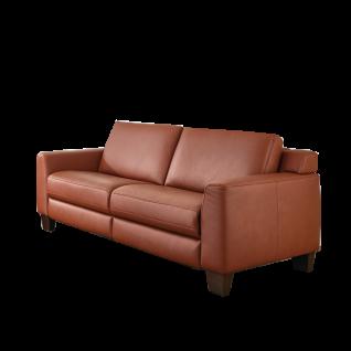 Hukla 2-Sitzer Sofaconcept mit naturbelassenem Semi-Anilin-Leder bezogen mit kubischen Armlehnen auf einzigartigen bodenfreien Buche - Holzfüßen in dem Beizton nussbaum