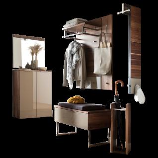 Wittenbreder Novara Garderobenkombination Nr. 06 komplette Garderobe für Ihren Flur und Eingangsbereich 8-teilige Vorschlagskombination im Nussbaum und Hellbraun Glas Griffe und Metallteile Chrom