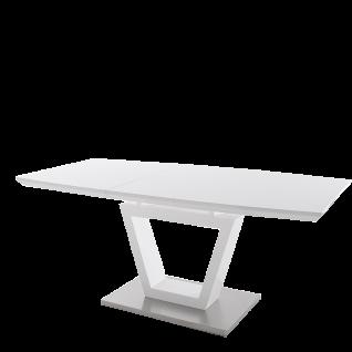 MCA Furniture ausziehbarer Säulentisch Nicolo in Hochglanz weiß MDF lackiert und Bodenplatte in Edelstahl gebürstet ideal für Ihr Esszimmer oder Wohnzimmer