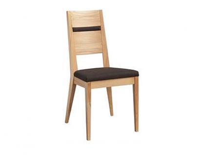 Dkk Klose Kollektion Stuhl S23 Polsterstuhl mit Massivholzgestell und Holzrücken mit Applikation für Küche oder Speisezimmer in verschiedenen Beiztönen und Bezugsarten wählbar