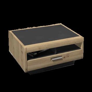 Ideal-Möbel Couchtisch Austin 71 Dekor in Holzoptik Eiche und Grau Melamin mit Schubkasten Breite ca. 80cm