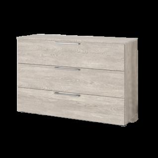 Nolte Möbel Concept Me 700 Kommode mit 3 Schubkästen nd Holz-Oberplatte Ausführung Platin-Eiche-Nachbildung mit Stangengriff in Edelstahl optional mit Vollauszug der Schubkästen