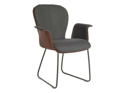 Bert Plantagie Blake Schlitten 631C Komfort mit Bi-Color-Mattenpolsterung und geschlossenen Armlehnen Stuhl 631B für Esszimmer Esszimmerstuhl Gestellausführung und Bezug in Leder oder Stoff wählbar
