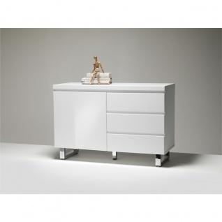 MCA furniture Sideboard Sydney Art.Nr. 48903W1 Front und Korpus Weiß MDF Hochglanz lackiert Füße Metall verchromt 1 Tür und 3 Schubkästen - Vorschau 2