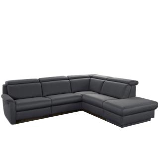 Himolla Ecksofa Tangram Motion 9701 Sofa in L-Form mit manuell verstellbaren Kopfstützen und aufklappbaren Hockerabschluss grauer Stoffbezug PG 14 Bodyflux7 teer Rücken unecht