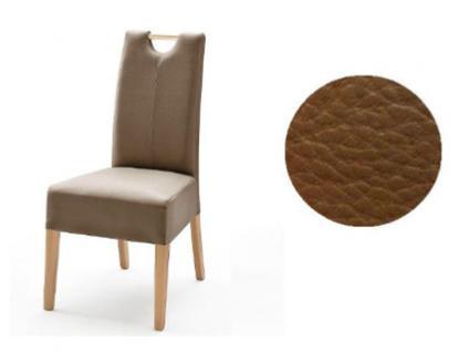 MCA Direkt Stuhl Elida cappuccino Lederlook 2er Set Polsterstuhl für Wohnzimmer und Esszimmer Ausführung 4 Fuß Massivholzgestell und Griff wählbar
