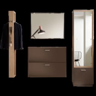 Mäusbacher Frame Garderoben-Set 4-teilig für Ihren Eingangsbereich und Flur Garderobenkombination bestehend aus Garderobenpaneel Schuhschrank Spiegel und Garderobenschrank im Dekor Lava matt Lack kombiniert mit Asteiche Nachbildung