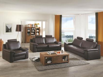Polinova Sofagarnitur 3-teilig 3-Sitzer 2-Sitzer und Sessel Allround L bodennah Rücken echt inklusive 5 Kopfstützen in Echtleder Ausführung wählbar