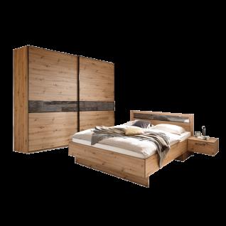 Schlafkontor Solid Schlafzimmer bestehend aus 2- türigen Schwebetürenschrank 240 cm Breite Bett 180 x 200 cm mit 2 Nachtkommoden je 1 Schubkasten