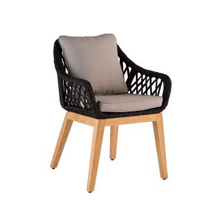 Niehoff Garden Demian Armlehnenstuhl G312-062-050 Gartenstuhl mit Fußgestell in Teak Massivholz geölt und Sitzschale aus Flachkordelflechtung schwarz inkl. Sitzkissen grau Sessel für Ihren Garten