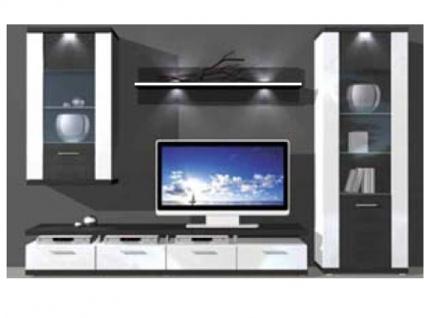 IDEAL-Möbel Wohnwand Manhattan Kombination 3 B inklusive Korpusfrontbeleuchtung in verschiedenen Ausführungen wählbar