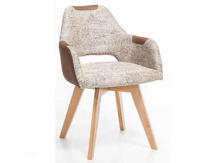 Standard Furniture Polstersessel Rimini mit Sitzschale F2 hinten offen für Esszimmer oder Wohnzimmer, Bezug zum Teil mit Kunstleder, auch unifarben erhältlich, verschiedene Gestellarten wählbar - Vorschau 1