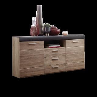 Wohn-Concept Slate Plus Sideboard 40 97 HH 20 moderne Kommode mit Türen Schubkästen und einem offenen Fach Anrichte für Wohnzimmer oder Esszimmer in San Remo hell Nachbildung und Anthrazit Touchwood Nachbildung