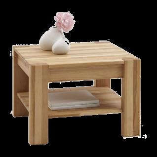 Elfo-Möbel Couchtisch Nena 6673 quadratisch in Kernbuche Massivholz geölt mit durchgehenden Lamellen Beistelltisch mit Ablage für Wohnzimmer