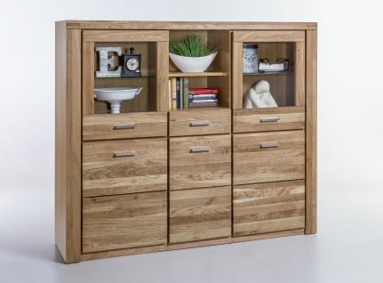 Elfo-Möbel Tabea Highboard 2335 mit 3 Holztüren 2 Türen mit Glaseinsatz 1 Schubkasten 2 Fächer Wildeiche teilmassiv geölt für Wohnzimmer oder Esszimmer