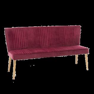 Standard Furniture Sitzbank Jennifer mit aufwendigen Ziernähten Bezug dunkelrot Holzgestell Eiche bianco Polsterbank für Esszimmer und Küche