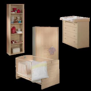 Paidi Fleximo Babyzimmer 4 teilig Kinderbett Kleiderschrank Kommode Wickelaufsatz in Birke hell