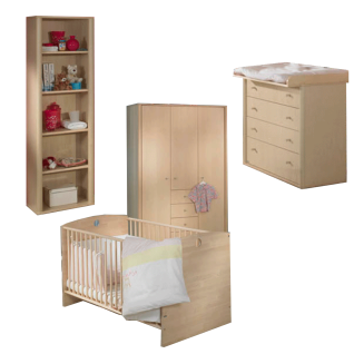 Paidi Fleximo Babyzimmer 5-teilig Kinderbett 70x140 cm Kleiderschrank 3T4S 3 Türen 4 Schubkästen Kommode 4 Schubkästen Wickelaufsatz Regal
