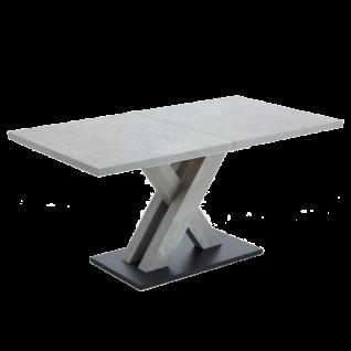 Niehoff Esstisch mit Auszug 3263 und 3233 Tisch mit einer Einlegeplatte Dekor Betonoptik hellgrau X-Gestell Bodenplatte schwarz