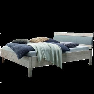 Hasena Factory-Line Bett bestehend aus Bettrahmen Dallas Kopfteil Coria Füße Gola in Akazie Vintage weiß Liegefläche ca. 180 x 200 cm optional mit Nachttisch Cali und Längstraverse wählbar