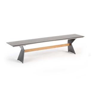 Niehoff Garden Nero Gartenbank G247 Sitzfläche mit HPL-Oberfläche und Winkelwangen Stahl anthrazit pulverbeschichtet mit Teaksteg für Ihren Garten Größe und Farbe wählbar