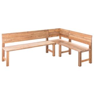 Niehoff Garden Unit Eckbank 3-teilig ca. 230 x 165 cm aus Teak Massivholz recycled für Garten oder Terrasse Sitzecke mit Werkbankgestell Sitz- und Rückenkissen wählbar