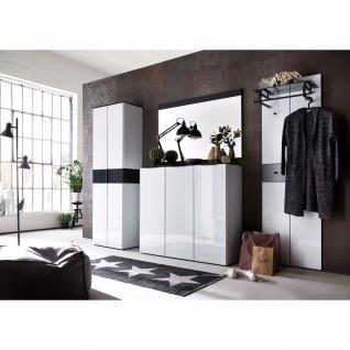 Wittenbreder Novara Garderobenkombination Nr. 11 komplette Garderobe für Ihren Flur und Eingangsbereich 4-teilige Vorschlagskombination in Glas Weiß und Glas Anthrazit Griffe und Metallteile in Schwarz - Vorschau 2