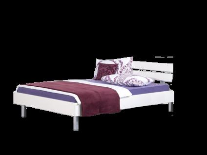 Neue Modular Primolar Livorno plus Bett bestehend aus Bettrahmen mit Kopfteil Vito in Dekor weiss und Rundfüße in alu Liegefläche ca. 180x200 cm