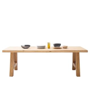 Elfo Möbel Tim Esstisch mit Massivholzplatte mit durchgehenden Lamellen und Holzgestell in Eiche geölt Tisch mit gerader Kante in verschiedenen Größen für Ihr Esszimmer oder Küche