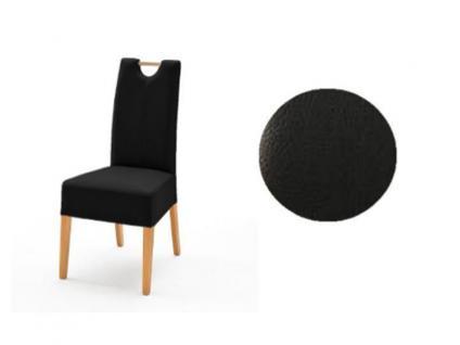 MCA Direkt Stuhl Elida schwarz Lederlook 2er Set Polsterstuhl für Wohnzimmer und Esszimmer Ausführung 4 Fuß Massivholzgestell und Griff wählbar
