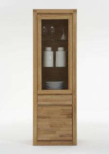 ELFO Vitrine DELFT mit 1 Schubkasten 1 Tür und 1 Glastür Massivholz in Kernbuche Beimöbel Art.Nr. 6203 für Wohnzimmer oder Arbeitszimmer