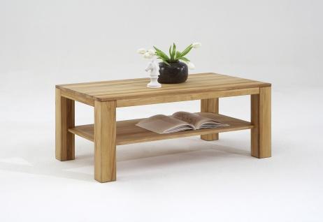Elfo-Möbel Couchtisch Nike 6493 rechteckig mit massiver Platte in Kernbuche Massivholz geölt mit durchgehenden Lamellen mit Ablage für Wohnzimmer