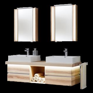Thielemeyer Fresh Badmöbel-Set 801393 in Strukturesche massiv mit weißen Absetzungen mit Unterschrank Waschtischplatte zwei Spiegelschränken
