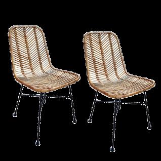 Sit Möbel RATTAN Stühle aus Rattan im 2er-Set Sitzfläche Geflecht natur Gestell schwarz