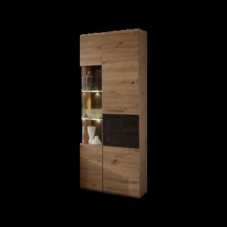 Wohn-Concept Bajazzo Two Vitrine 40 96 HH 02 moderne Standvitrine für Ihr Wohnzimmer oder Esszimmer mit zwei Türen in Artisan Eiche Nachbildung mit Absetzungen in Grau Beleuchtung wählbar