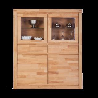 Elfo-Möbel Delft Vitrinenschrank 6215 mit 2 Schubkästen 2 Glastüren 2 Holztüren und 2 Glaseinlegeböden Vitrine in Kernbuche Massivholz geölt