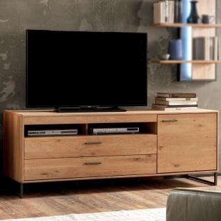 MCA Furniture Portland TV-Element POR17T30 für Ihr Wohnzimmer Lowboard im Industrial Look mit einer Tür zwei Schubkästen und zwei offenen Fächern TV-Unterteil in Asteiche bianco teilmassiv mit Fronten aus Massivholz und Füßen aus Metall Anthrazit lackiert - Vorschau 2